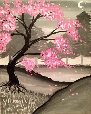 Paint Nite - Cherry Blossom Moonlight II